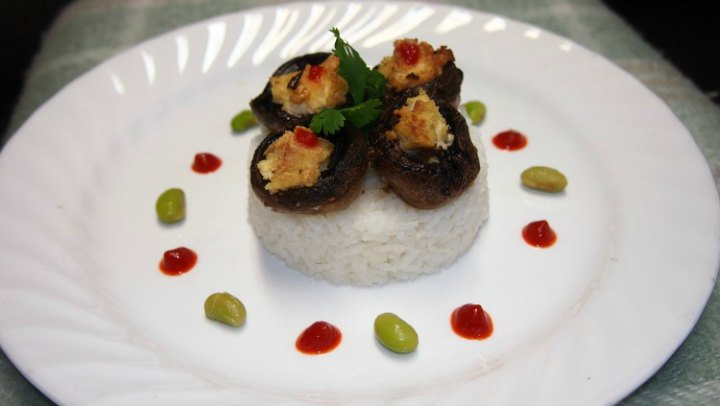 Mushrooms Stuffed With Soy Feta Served With Rice | Vegetarian Main Dish